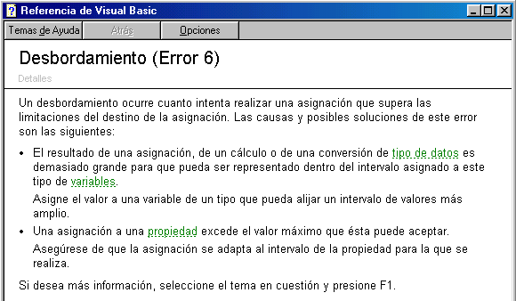 error desbordamiento visual basic