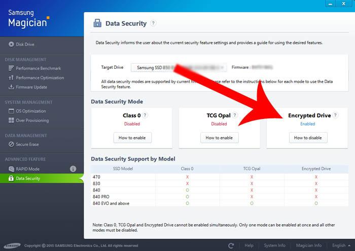 Samsung Evo data security enabled - szyfrowanie ssd