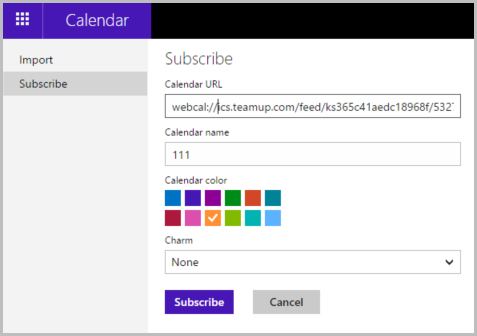 Subscribe Teamup Calendar from Outlook.com calendar