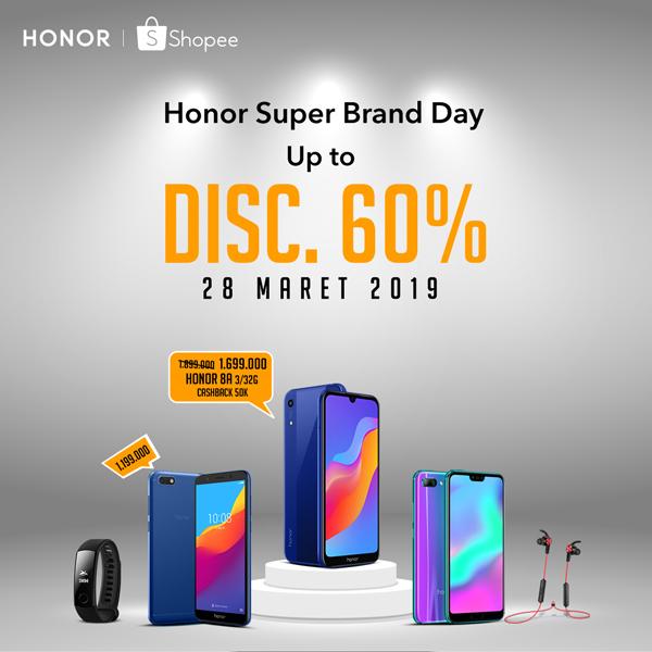 Smartphone HONOR 8A Diskon Besar-besaran di Shopee Super Brand Day