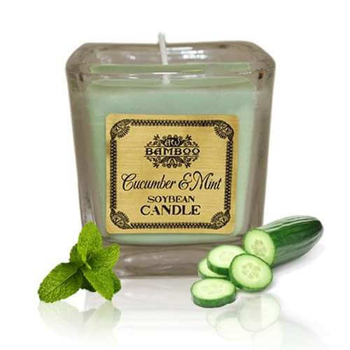 soy wax jar candle - cucumber & mint