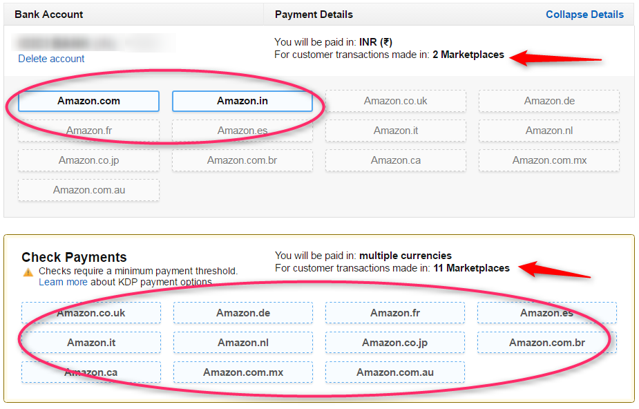 amazon kdp payment and bank information