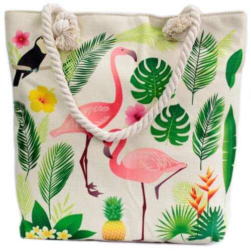 rope handle bag - flamingo