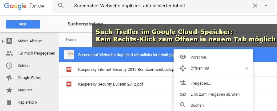 Bei Google Drive lässt sich eine Datei nicht durch Rechts-Klick in einem anderen Tab öffnen.