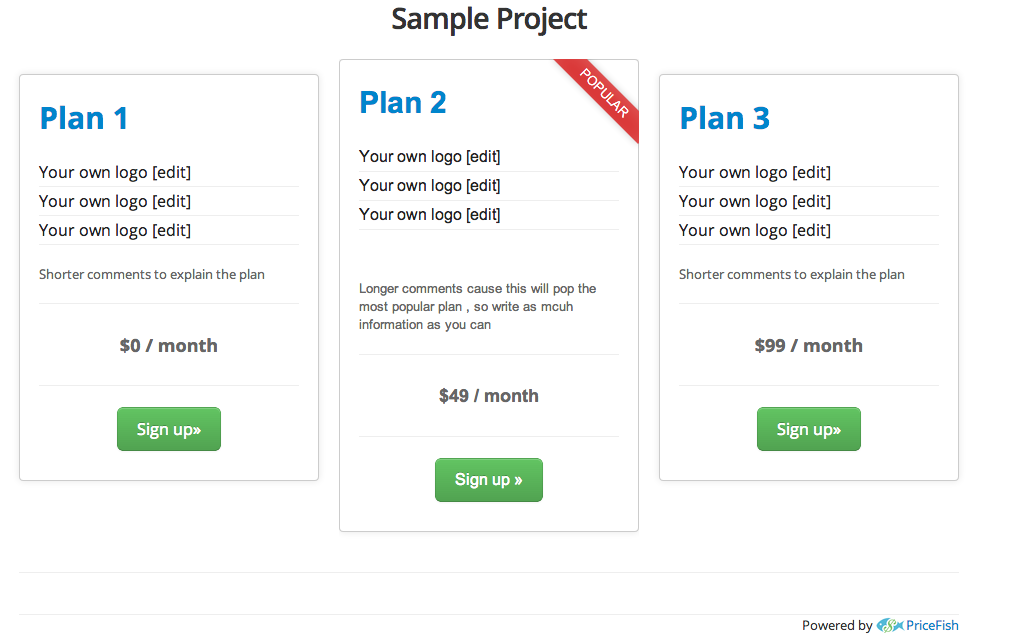 Clean Green responsive pricing table