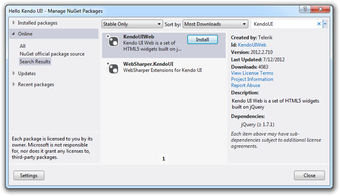 Kendo UI Web NuGet Package