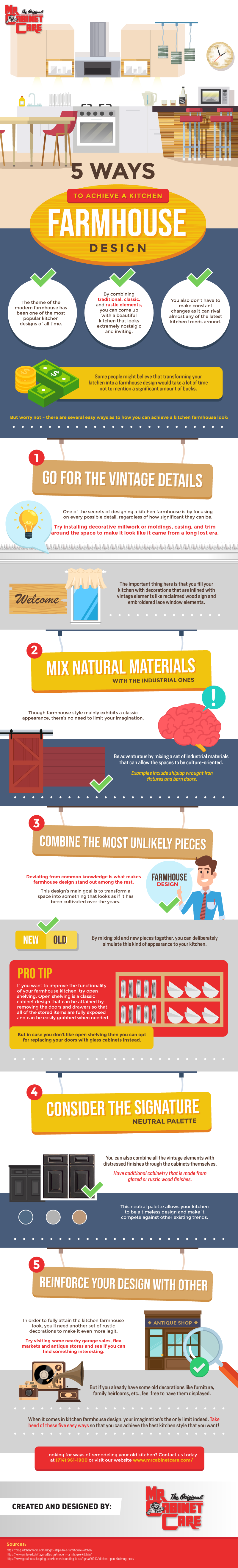 5 Ways to Achieve a Kitchen Farmhouse Design - Infographic