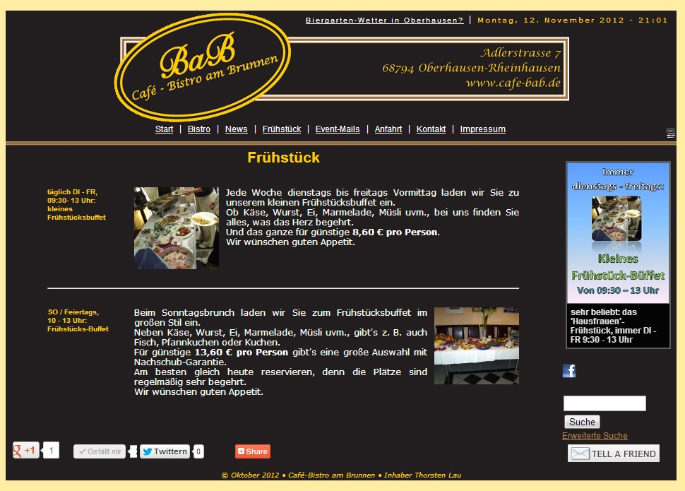 Die Website vom Café-BaB wurde im Januar 2007 erstellt und über die Jahre immer wieder aktualisiert.