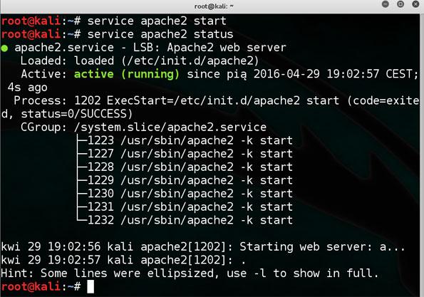 Kali Linux start usługi serwera www i status apache2 w konsoli pod atak RFI.