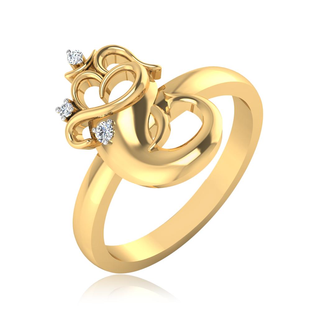 The Yashavi Om Diamond Mens Ring