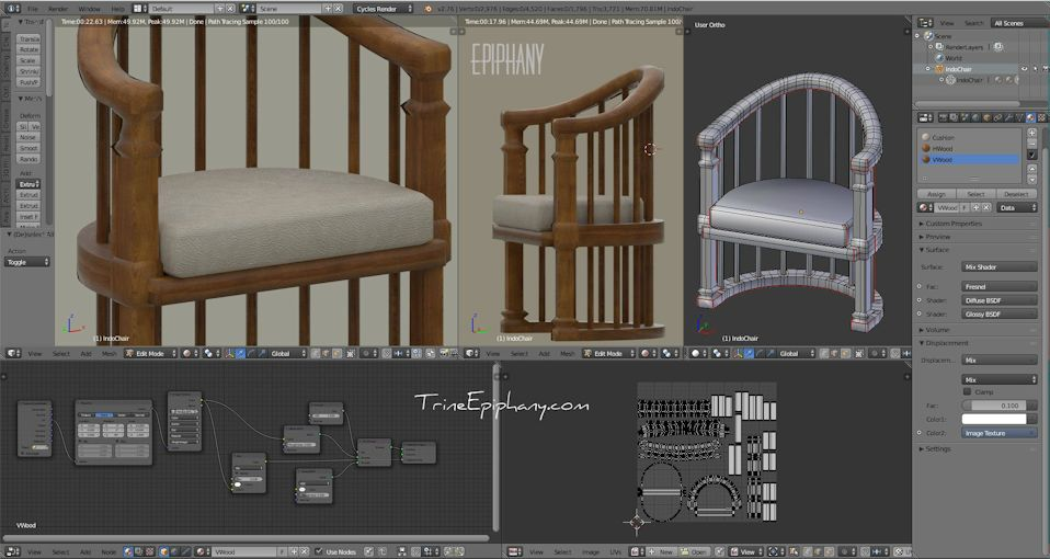 Balinese teak wood chair with leather cushion modelled in Blender 3D