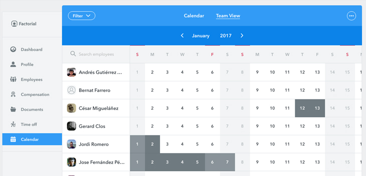 Team view calendar Factorial