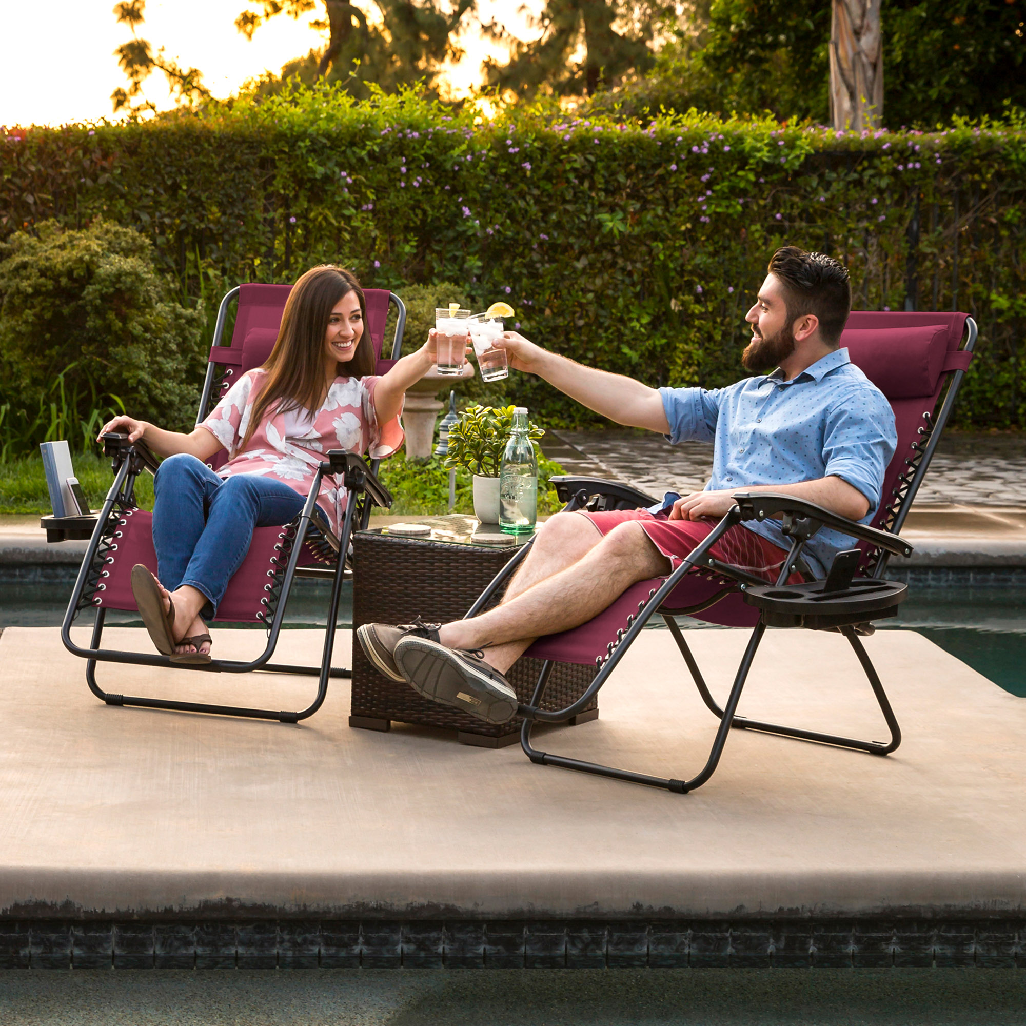 BCP-Set-of-2-Adjustable-Zero-Gravity-Patio-Chair-Recliners-w-Cup-Holders thumbnail 37