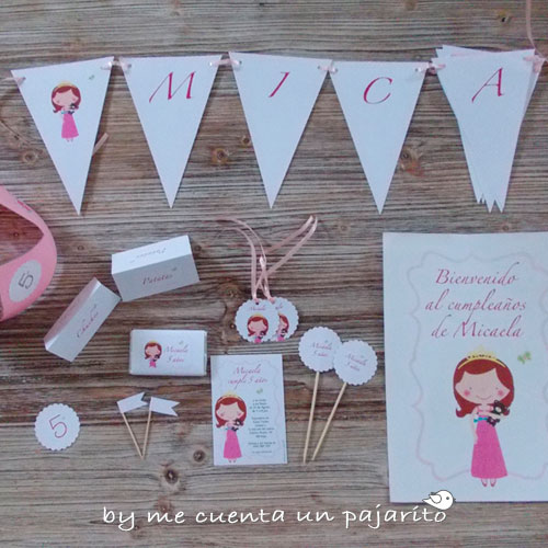 Kit de cumpleaños personalizado de la princesa y su osito marrón, invitación, etiquetas, toppers, cartel bienvenida, place cards, banderitas, guirnalda