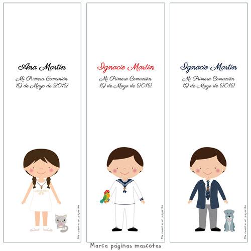 Marca páginas de Primera Comunión personalizado niña, niño, mascotas, perro, gato, marcalibro