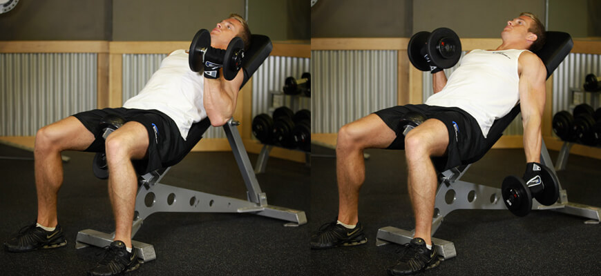 Incline Dumbbell Curls Exercise to build bigger biceps