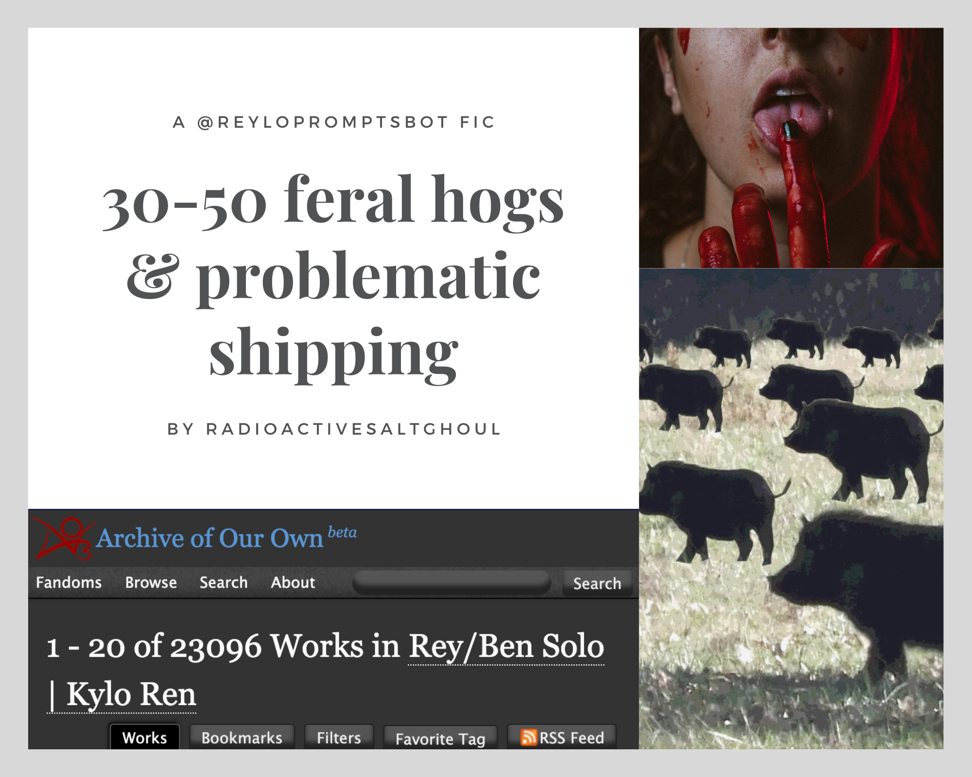 moodboard for 30-50 feral hogs & problematic shipping