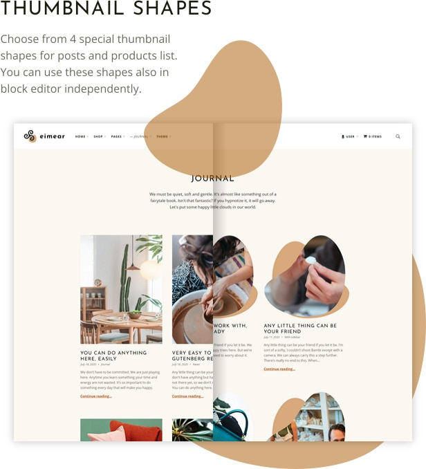 Eimear WordPress theme posts thumbnails shapes