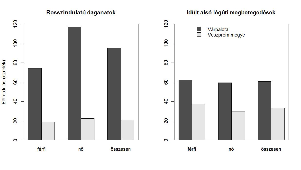 2. ábra: Az 1000 lakosra jutó rosszindulatú daganatok és idült alsó légúti megbetegedések száma a háziorvosi jelentések alapján, Várpalotán és Veszprém megye átlagában, 2003-ban (Fülöp I. 2009)