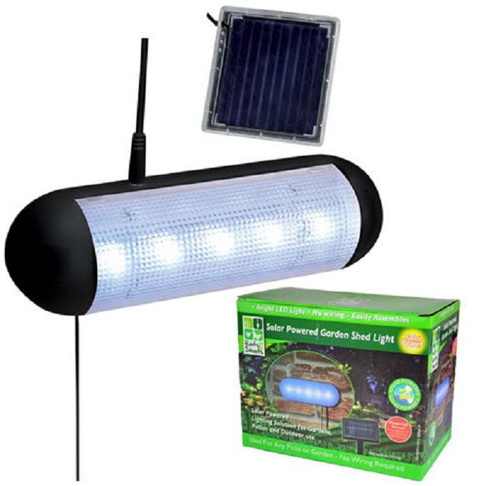 Solar Powered Wall Garage Shed Light 8 Led: SOLAR POWERED SECURITY SPOTLIGHT GARDEN SHED 5 LED LIGHT
