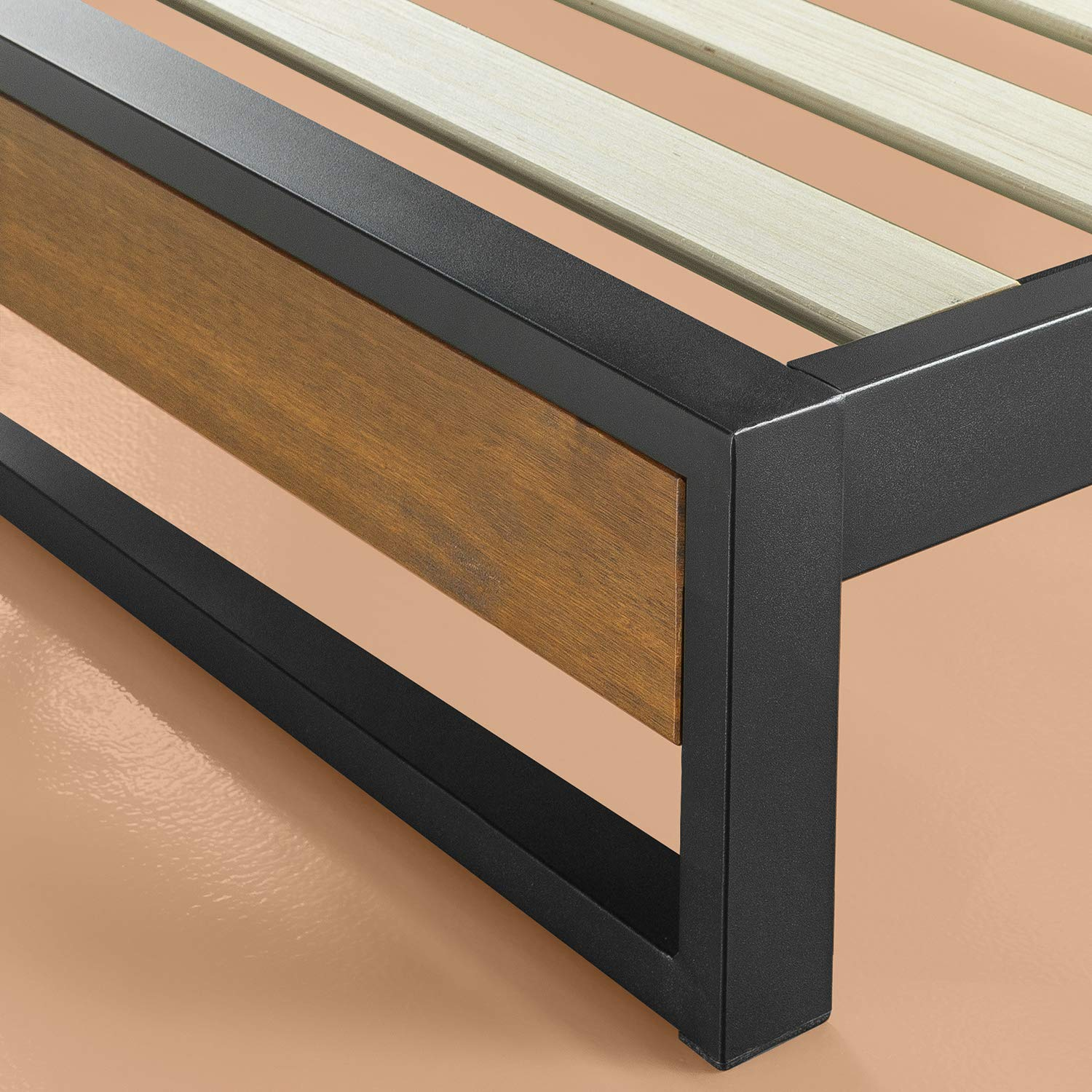 Zinus-Industrial-Metal-Wood-Bed-Frame-Single-Double-Queen-King-Low-Base-Mattress thumbnail 10