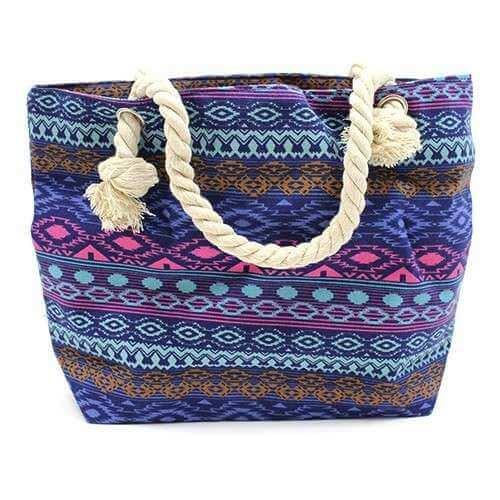 rope handle bag - bali blues