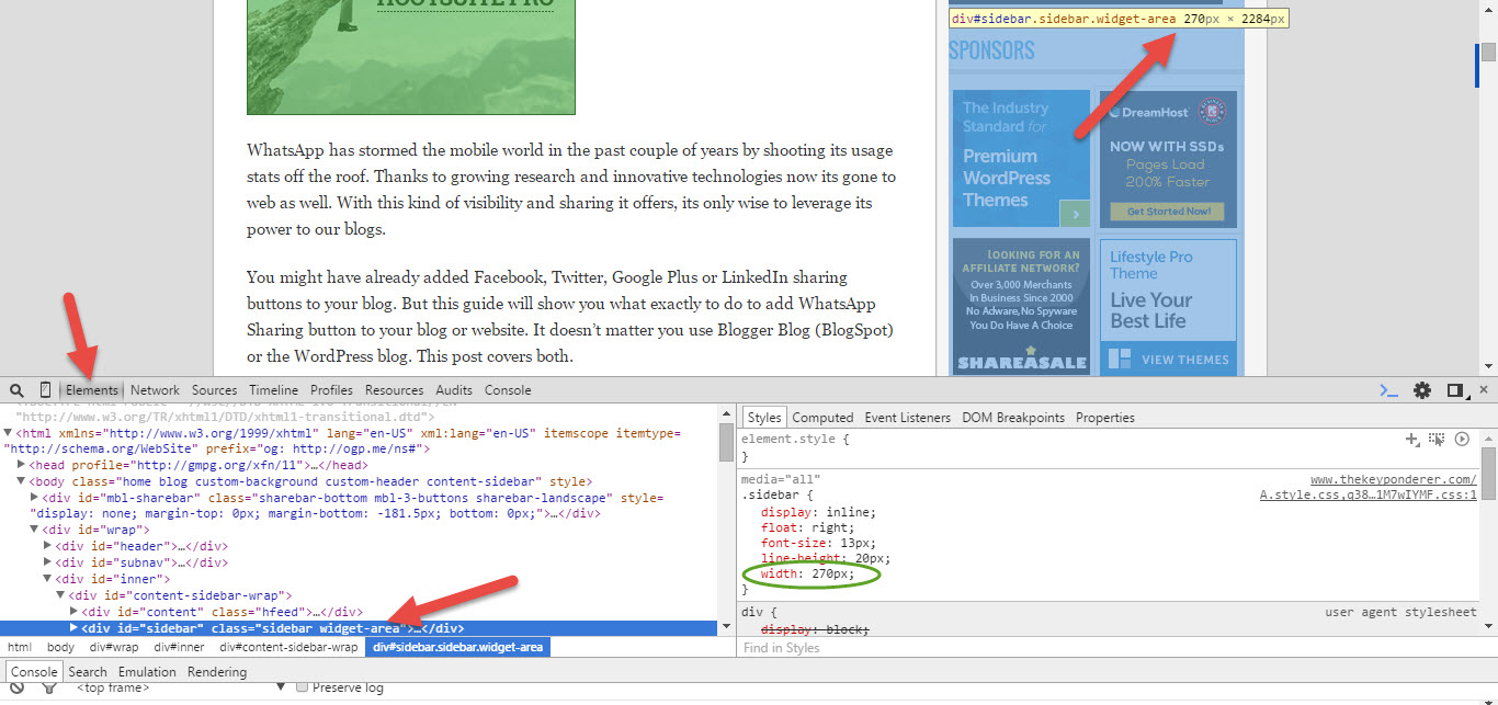 change sidebar width using inspect element in chrome