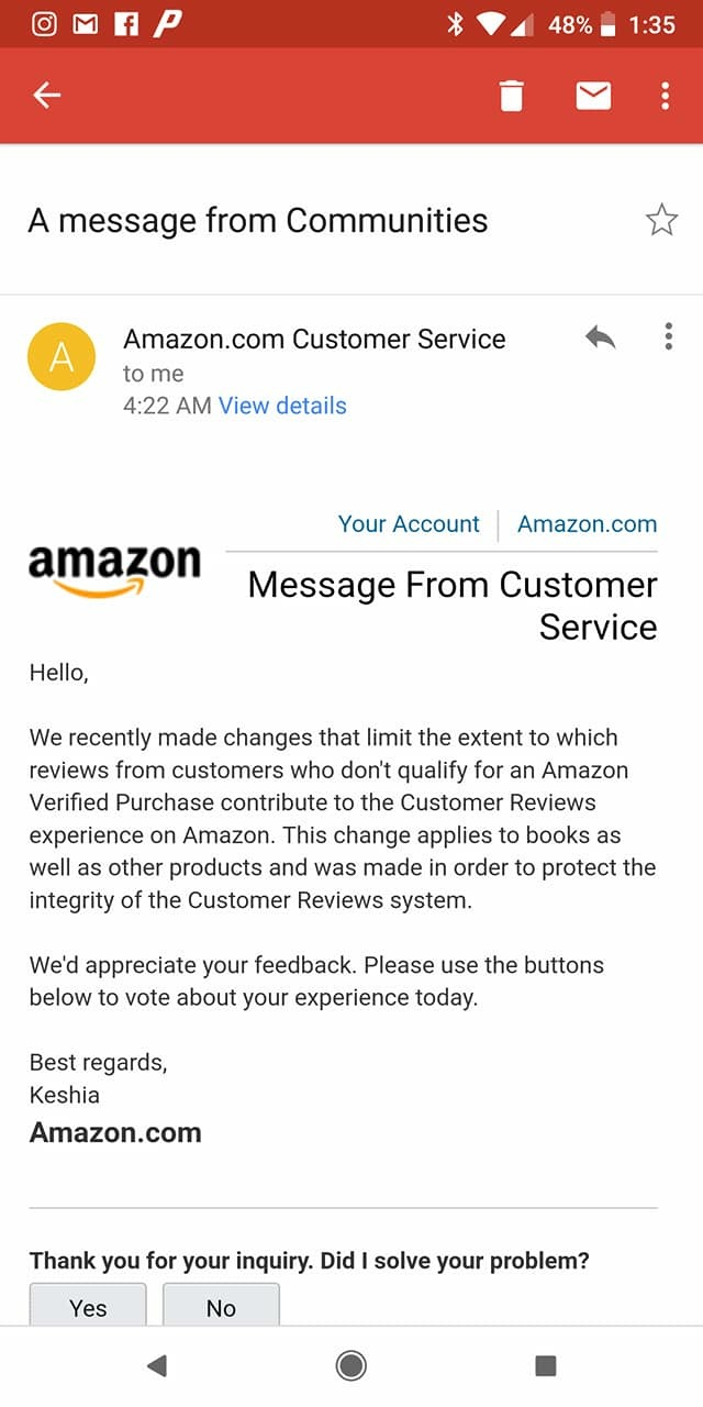 Amazon response to changes in review guidelines
