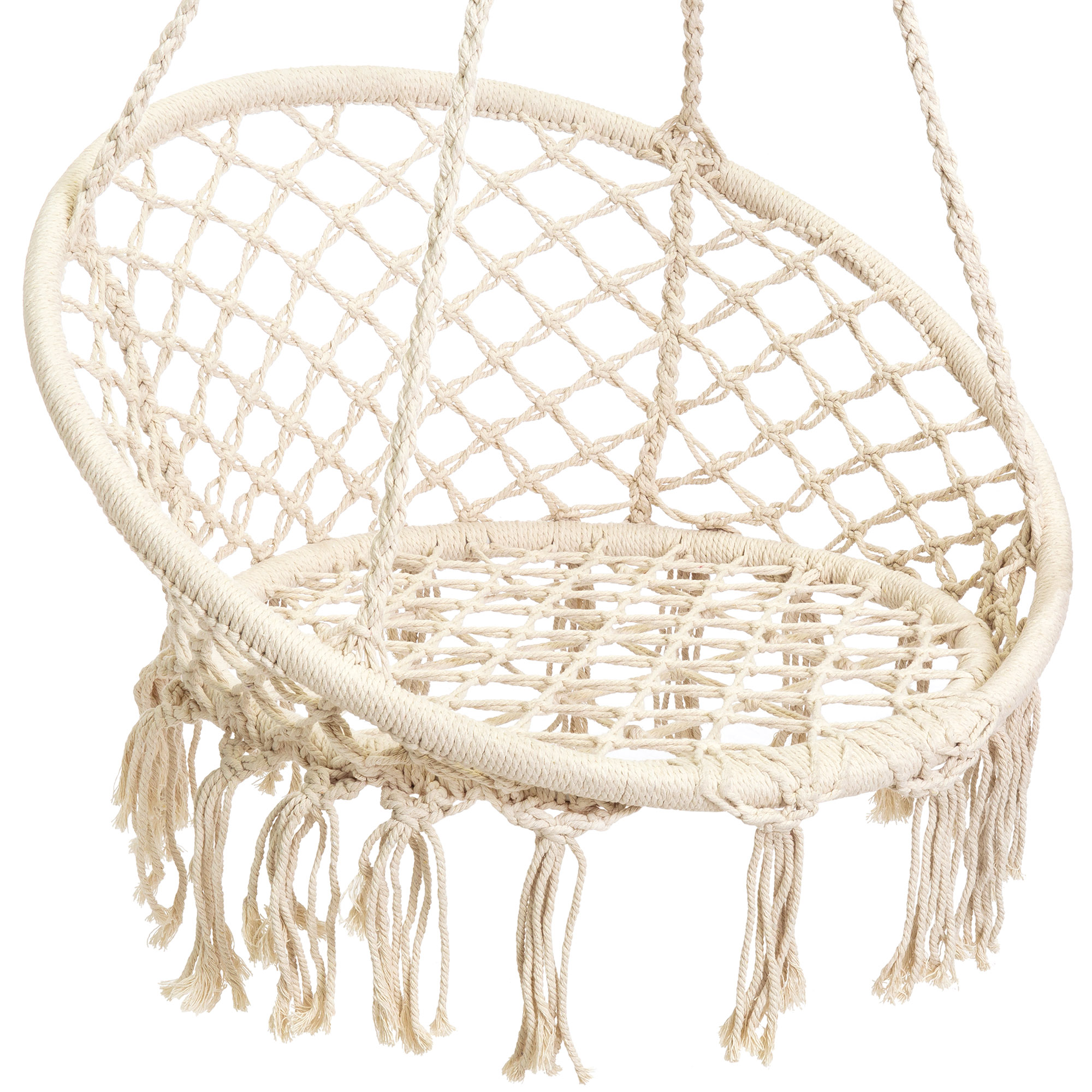 BCP-Handwoven-Cotton-Macrame-Hammock-Hanging-Chair-Swing-w-Backrest thumbnail 11