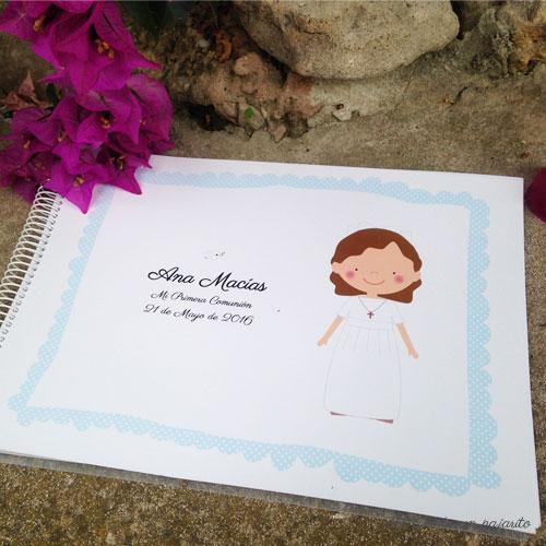 Álbum de Primera Comunión personalizado de firmas y fotografías niña, niño