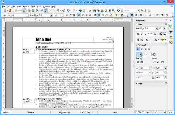Open Office Writer wordprocess screenshot