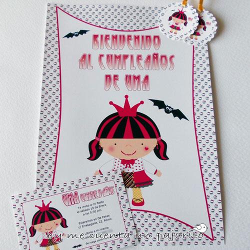 Kit fiesta de cumpleaños de draculaura, cartel bienvenida, invitación, etiquetas