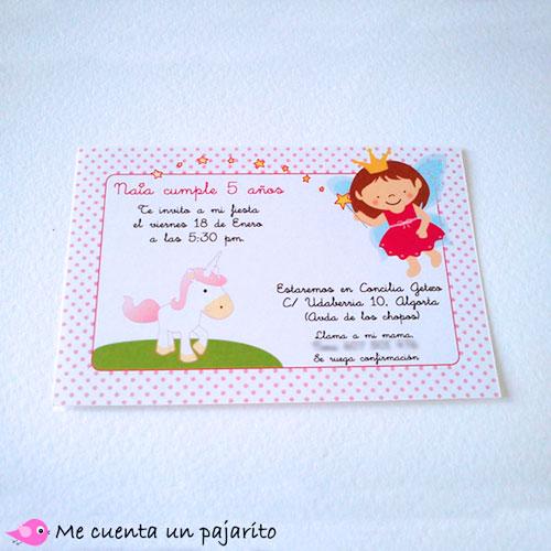 invitación personalizada de cumpleaños de la hada y el unicornio