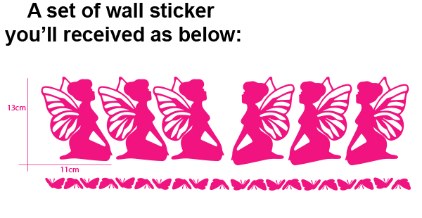 6 fairies light Switch Sticker Removable wall sticker for kids room or Nursery
