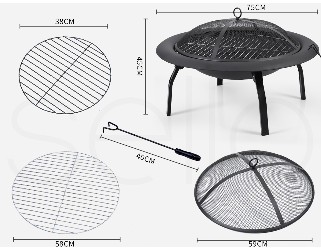 """thumbnail 31 - 22"""" 30"""" Fire Pit BBQ Grill Pits Outdoor Portable Fireplace Garden Patio Heater"""