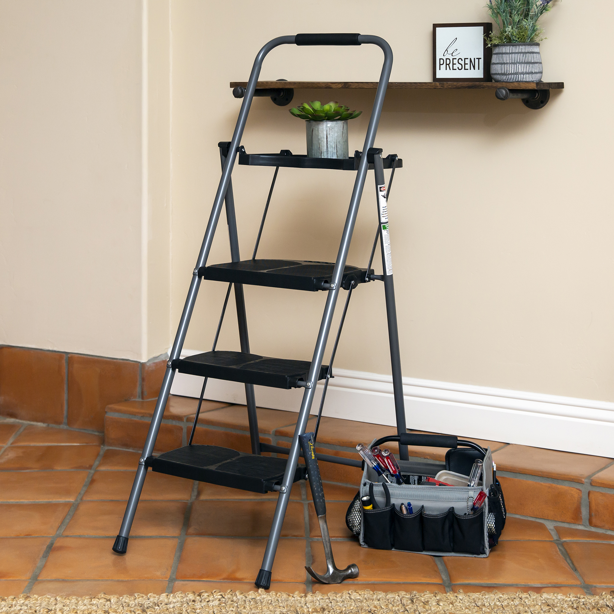 Bcp Folding Steel 3 Step Ladder W Hand Grip Wide Steps