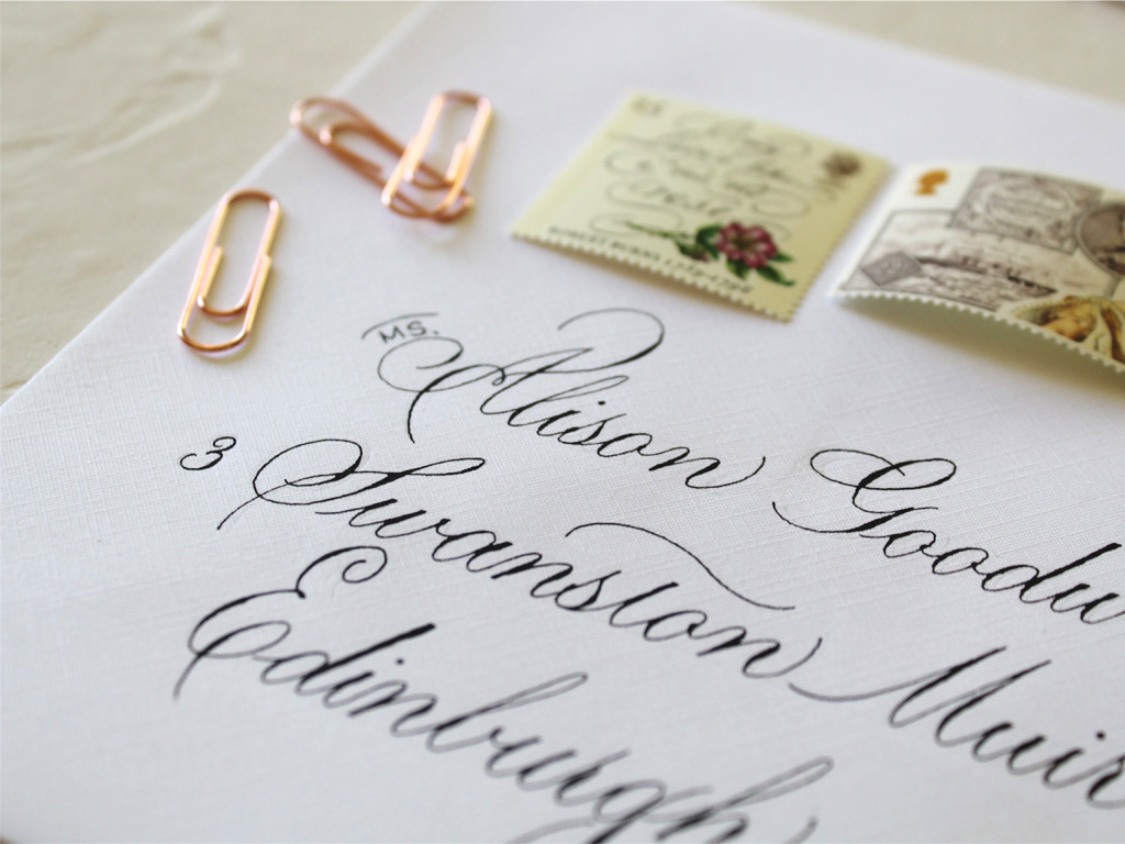 Copperplate styled scripted envelope