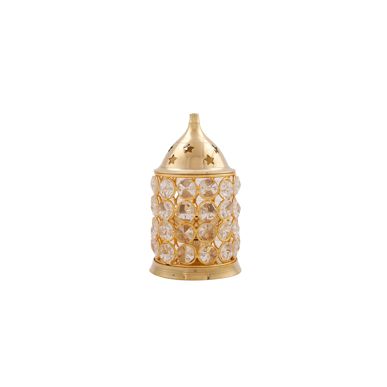 Akhand Diya in Brass Crystal Design