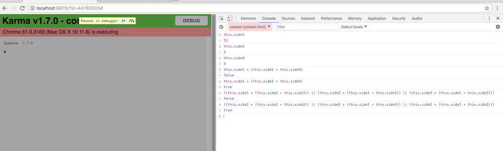 We use debugger to test code at the breakpoint.