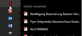 Über die rechte Maustaste kann man zum Symbol in der Taskleiste die angehefteten Dateien anzeigen
