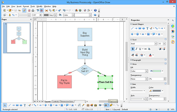 Open Office Draw screenshot, flowcharts