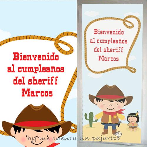 Cartel de bienvenida del kit de fiesta de cumpleaños del sheriff Marcos, cartel de entrada