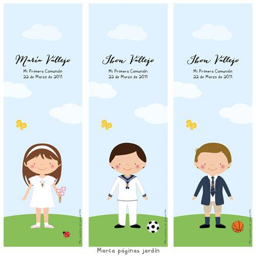 Marca páginas de Primera Comunión personalizado niña, niño, jardín, balon, flores, marcalibro