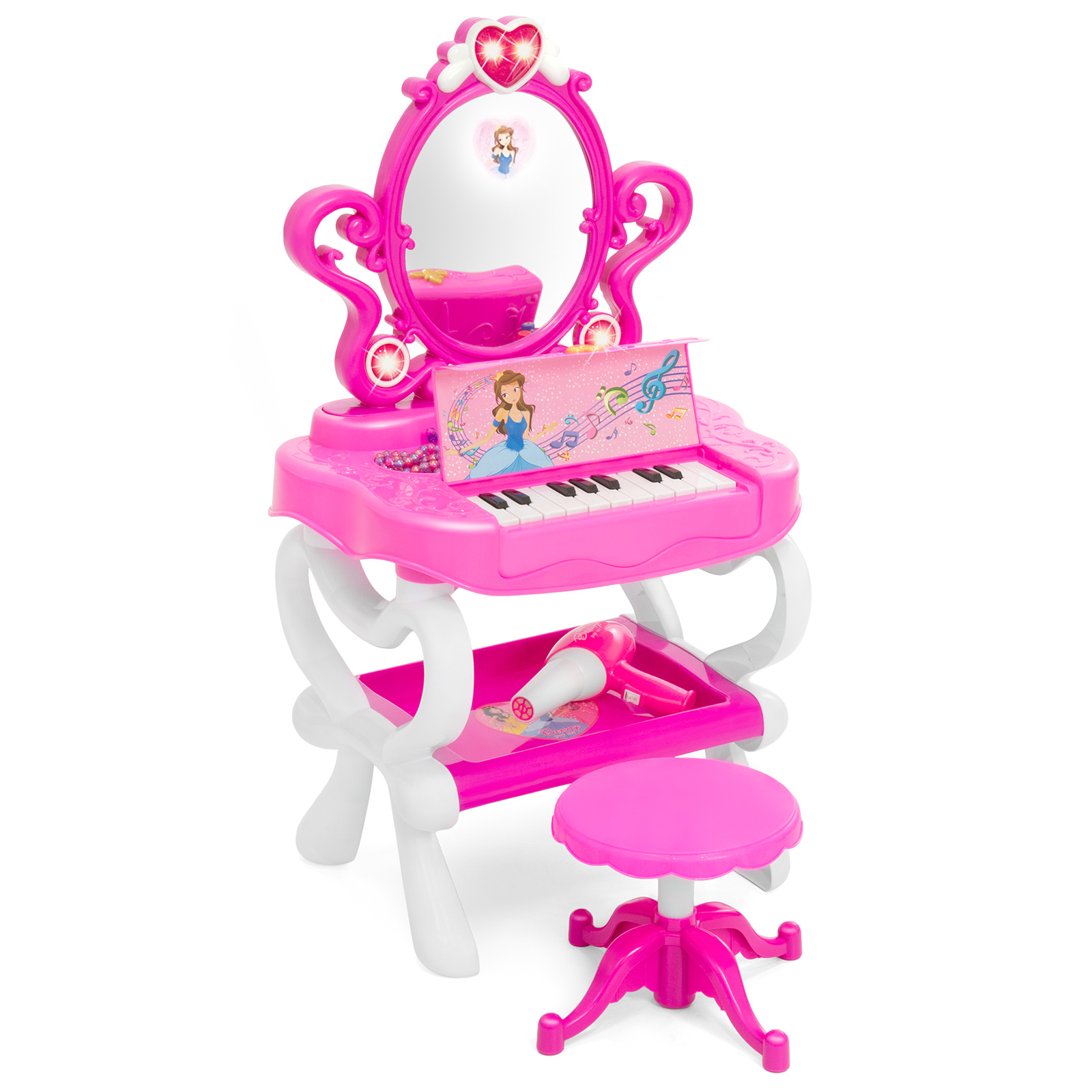 vanity set for girls. Best Choice Products 2 In 1 Kids Vanity Set Girls Toy W  16 Piece Beauty Accessories Functional Piano Keyboard Flashing Lights