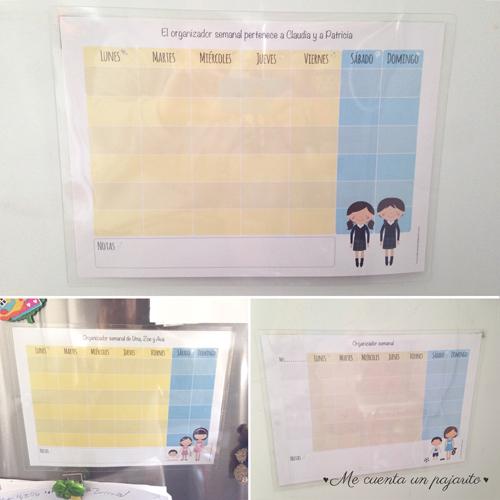 organizador semanal, planning semanal personalizado con niños