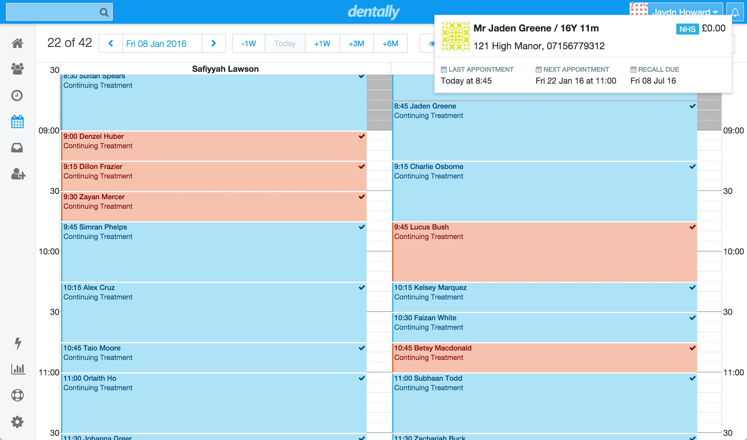 Calendar - Hover for Patient Details