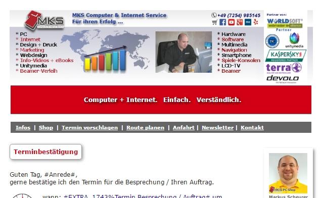 Termin-Bestätigung per Mail - von MKS Computer & Internet Service