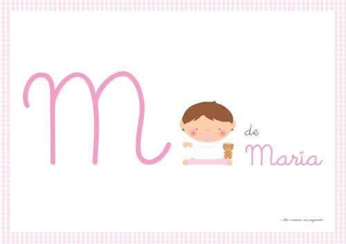 Lámina inicial nombre bebe niña