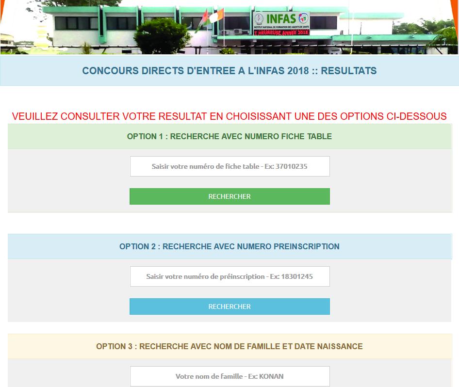 Resultats INFAS 2018-2019 ci Côte d'ivoire www.ci-infas.net infas.laatech.com Concours INFAS 2018 Côte d'ivoire procédure Inscription ci et dossier à fournir (Resultats et Epreuves)