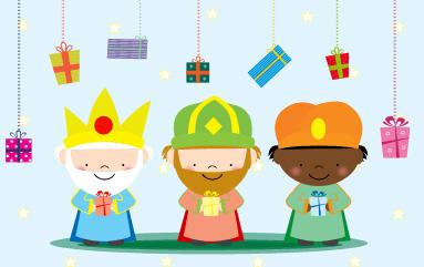 Tarjeta de felicitación de Navidad, ya vienen los reyes magos de oriente con regalos